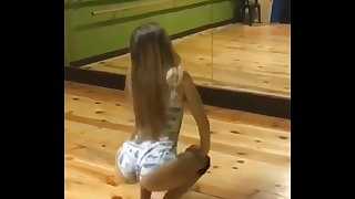 blonde girl wiggle little donk